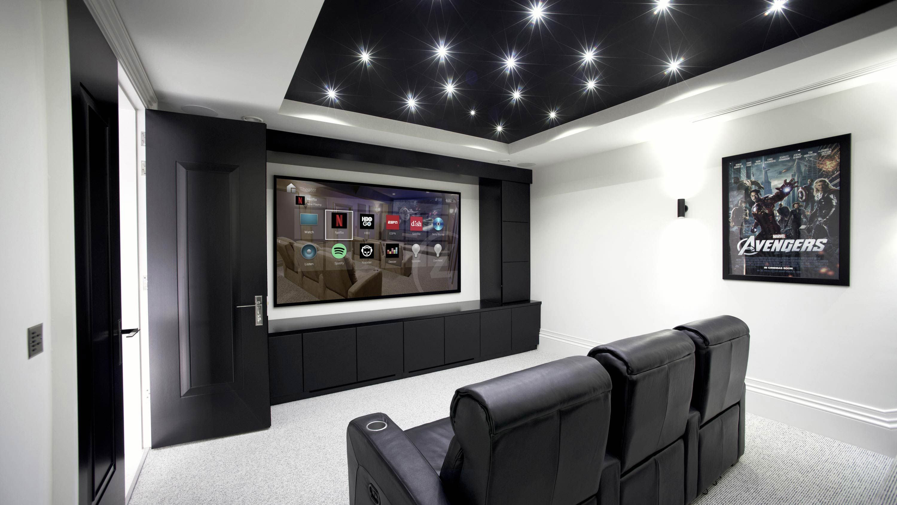 custom home theater hinsdale, smart home automation, indoor automation, lighting, motorized shading, theater, screens